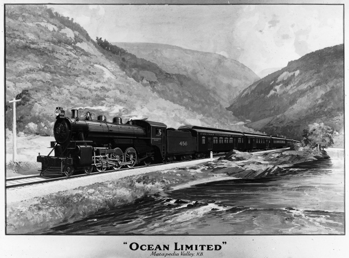 Black and white photograph of a painting of the Ocean Limited train pulling passenger wagons. The railway runs along the bank of the Matapedia River. The background is composed of a series of mountains superimposed on each side of the river, the landscape typical of the Matapedia Valley.
