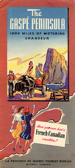 Cover of a tourist pamphlet. In the upper part of the page, drawing of two young women standing on a cart drawn by an ox. A man helps one of the women get off the cart while the other controls the ox with a rope. The farmer observes the scene while smoking a pipe. In the background, the village of Perce and Percé Rock dominates the background. At the bottom of the pamphlet, two fashionable dressed young women walk across a map of the province of Quebec towards the Gaspésie. Near them a box proclaims: Have you ever had a French Canadian vacation?.