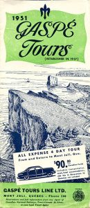 The cover of the pamphlet from 1951 for Gaspé Tours presents an engraving of the view of Percé Rock from the coast. The brochure is promoting the tour of Gaspésie in 4 days for $90 from Mont-Joli back to Mont-Joli.