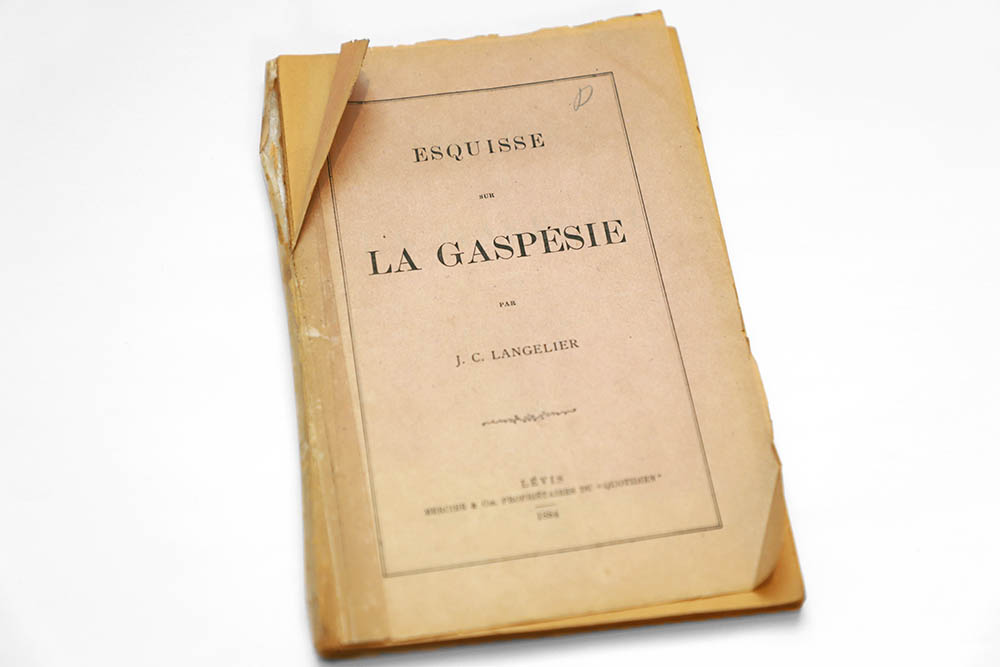 Colour photograph of booklet cover. The cover reads: Esquisse sur la Gaspésie par J. C. Langelier, Lévis, Mercier & Cie, Propriétaires du quotidien, 1886. The cover is made of a thin paper yellowed by acidity and time.