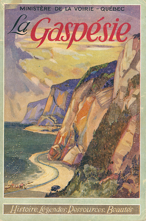 Cover page of the Gaspésie booklet produced by the Ministry of Roads. The cover is illustrated by a romantic image of the Gaspésie. In a sunset, a 1930s model car advances on a road that crisscrosses the foot of the immense coastal cliffs of Gaspésie.