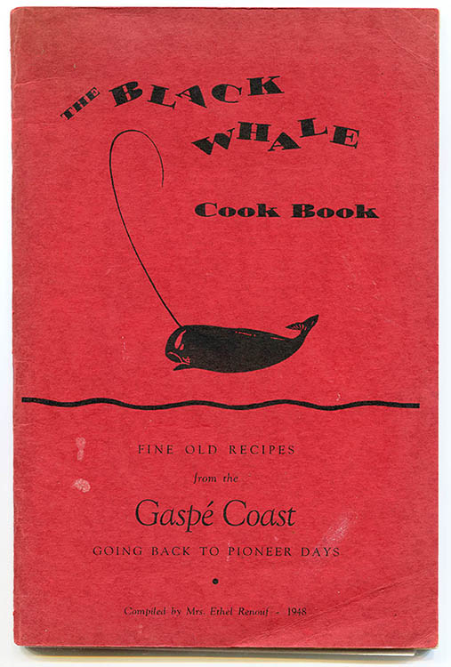 Cover page of The Black Whale cook book. The cover is printed on bright red sturdy paper and shows the drawing of a black whale. A thin black band that suggests waves divides the page in half. It reads, The Black Whale Cook Book: Fine Old Recipes from the Gaspé Coast Going Back to Pioneer Days. Compiled by Mrs. Ethel Renouf - 1948