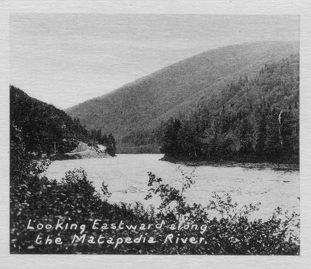 Black and white photograph of the Matapedia River that descends the Matapedia Valley winding between the mountains and forest of evergreen trees.