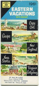 Cover of a tourist pamphlet of the American Express travel agency. The pamphlet presents 5 destinations on the east coast: Cape Cod, Gaspé, New England, Nova Scotia and Virginia/Gettysburg. Each destination is represented by a bucolic watercolour representing the typical landscape of each region.