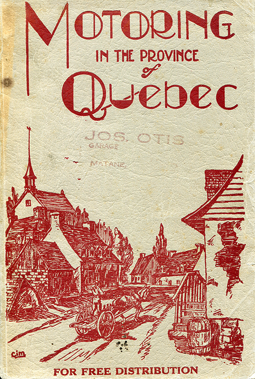 Illustration of the cover of the English magazine Motoring in the Province of Quebec. The red-coloured monochrome illustration presents the bucolic image of a rural village on the Gaspé Peninsula. A horse pulls a cart with two wheels, on which stands a man. The horse is following a road through a village of old country houses. A small church dominates the village.