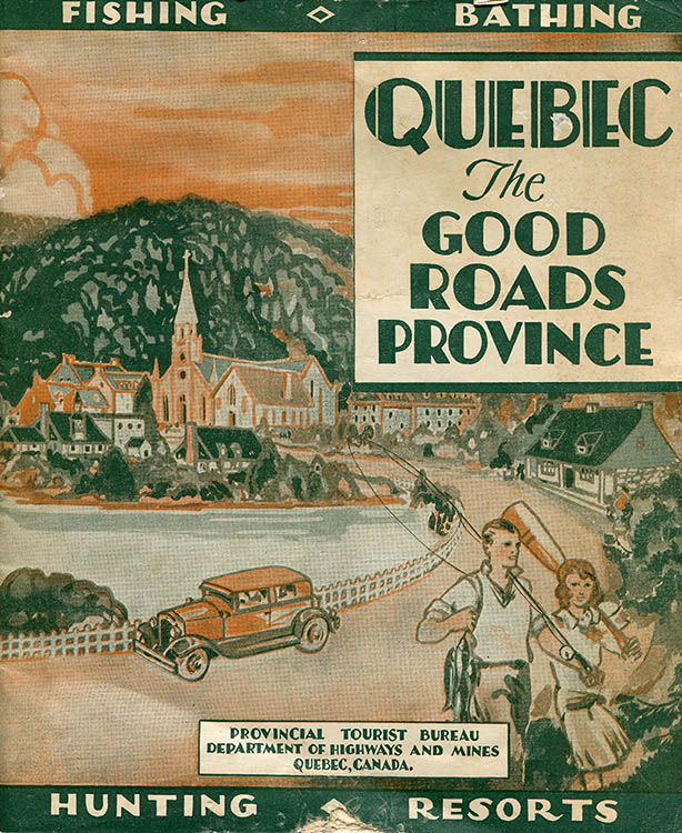 Cover of a colored brochure titled Quebec The Good Roads Province brochure. The illustration shows a coastal village on the Gaspé Peninsula. In the foreground, a young couple seems to be coming back from fishing, the man carries and de woman an oar. Behind them, a car passes through the village and in the background some rustic houses are clustered around a church at the foot of a mountain. The words Fishing, Bathing, Hunting and Resorts are found at the top and bottom. The credit reads Provincial Tourist Bureau Department of Highways and mines Quebec, Canada.