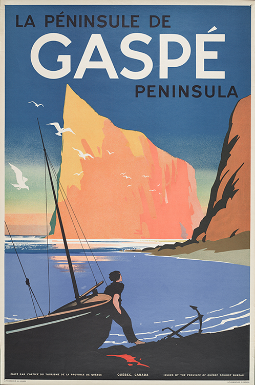Poster of the Gaspé Peninsula, with a simple and modern graphic design. In the foreground, a man on the beach leans on a sailboat. At his feet an anchor lies on the beach. In a luminous atmosphere of a sunset, the man observes the Percé Rock, massive and imposing, giving the impression of being an immense liner that advances in the Gulf of St. Lawrence. In the blue sky above the rock is written: La Péninsule de Gaspé Peninsula.