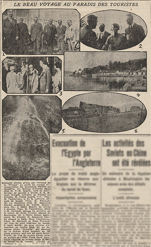 1929 newspaper clippon presenting 6 photographs of the inauguration trip of Boulevard Perron by Quebec Prime Minister, Louis-Alexander Taschereau. Photograph 1 shows a group of 6 men posing in front of a gallery. Photo 2 is a photograph of 3 men and a woman. The woman shakes the hand of a man facing her. Photo3 shows a group of 6 people and a baby at Metis Beach. Photo 4 is the interior view of the port of Gaspé. Photo 5 chows Jumelle Falls, a 150-meter drop that flows along a rock face. Photo 6 shows a view of Percé Rock from the village of Percé. In the foreground we can see some rustic houses along a road. No article accompanies the photographs, there is only the description of the photographs.