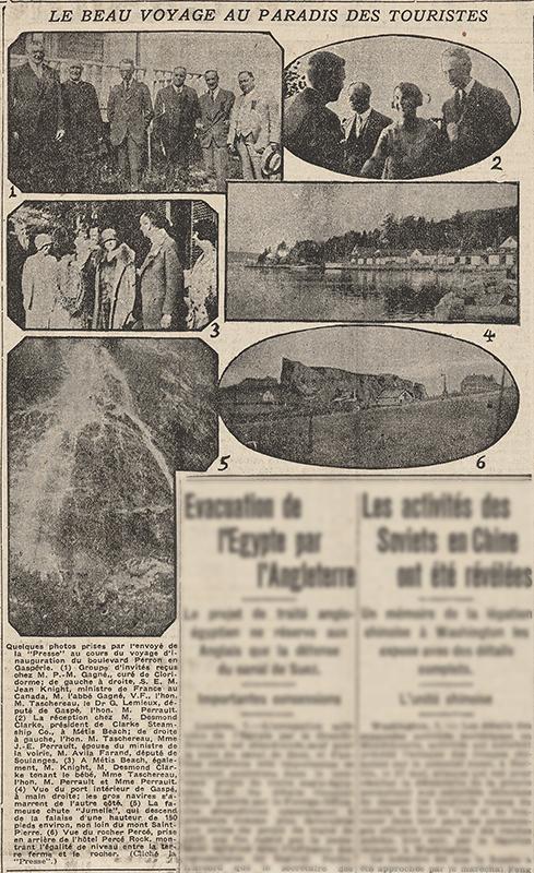 Coupure de journal de 1929 présentant 6 photographies du voyage d'inauguration du boulevard Perron par le premier ministre du Québec Louis-Alexander Taschereau. La photographie 1 présente un groupe de 6 hommes posant devant une galerie. La photo 2 est la photographie de 3 hommes et une femme. La femme serre la main d'un homme face à elle. La photographie 3 présente un groupe de 6 personnes et un bébé à Métis Beach. La Photographie 4 est la vue intérieure du port de Gaspé. La photographie 5 présente la chute Jumelle, une chute de 150 mètres qui s'écoule le long d'une paroi rocheuse. La photographie 6 présente une vue du Rocher Percé à partir du village de Percé. En avant-plan on aperçoit quelques maisons rustiques le long d'une route. Aucun article n'accompagne les photographies, il n'y a que la description des photographies.