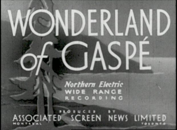 Image from the generic introduction from the short film Wonderland of Gaspé. In the background we can see a coastal landscape drawn. In the foreground stand two mature pine trees. In the background a coastal landscape represents the typical landscape of Gaspé. On this drawins it is written Wonderlan of Gaspé Northern Electric Wide Range Recording Produced by Associated Screen News Limited Toronto.
