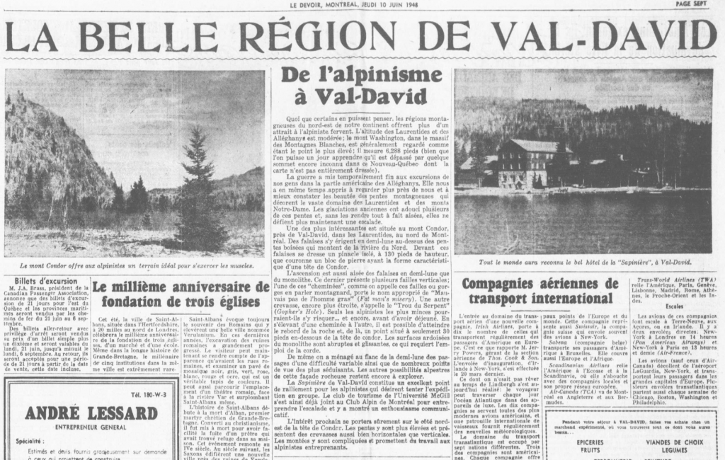 Extract from Le Devoir newspaper in 1947, referring to the tourist industry in Val-David and illustrated with two landscapes.