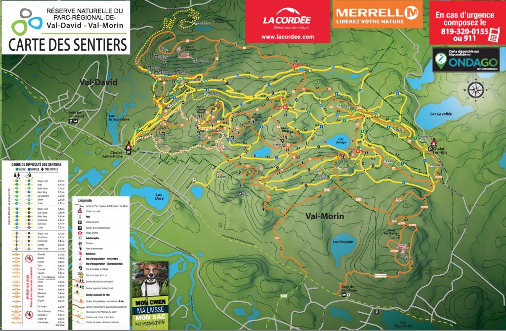Carte du Parc Régional Val-David/Val-Morin, avec ses pistes et ses sentiers.