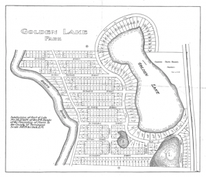 Survey plan from the 1920s of the hundreds of lots in the subdivision around Golden Lake.