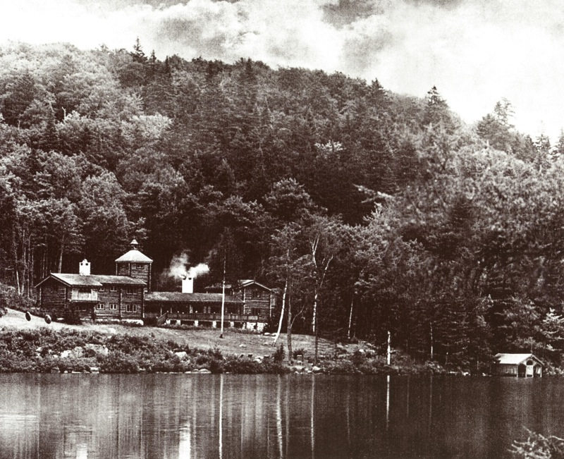 The enormous log-built home of John McConnell on Lac Gore.