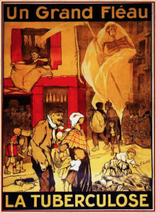 Anti-tuberculosis poster in colour featuring groups of needy people, including children, threatened by a skeleton wrapped in a shroud and holding a scythe.