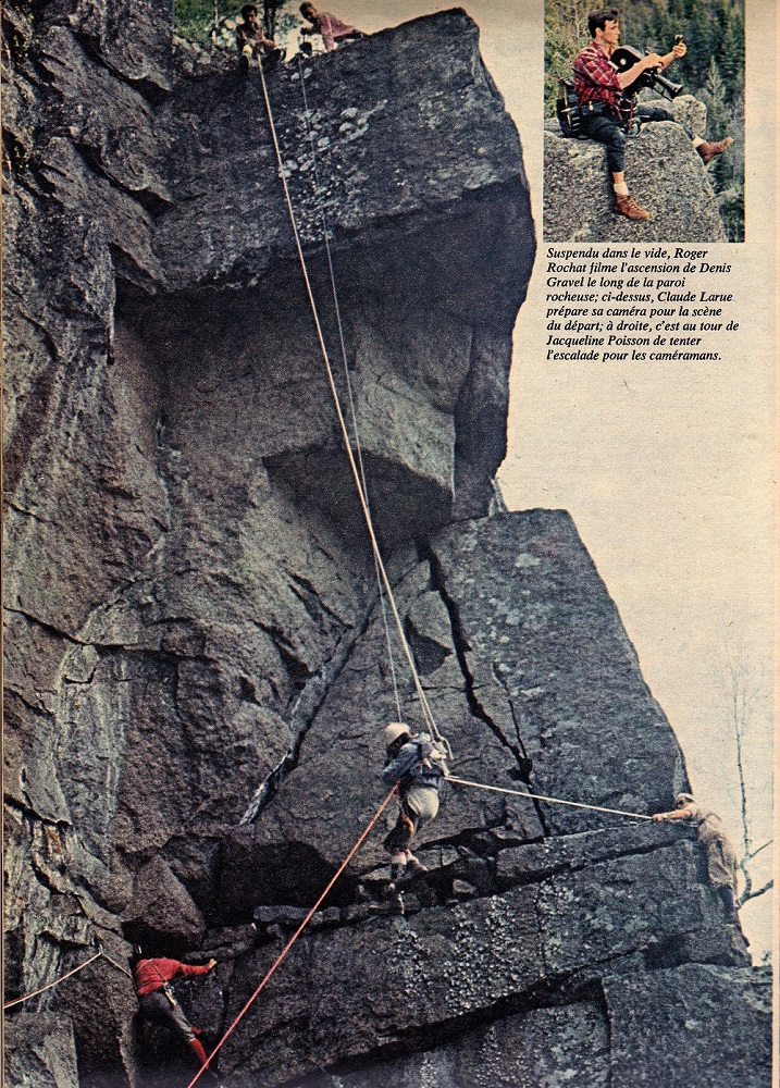 Extract from a magazine: a cameraman atop a rock is filming a climber suspended in mid-air by ropes held by three people.