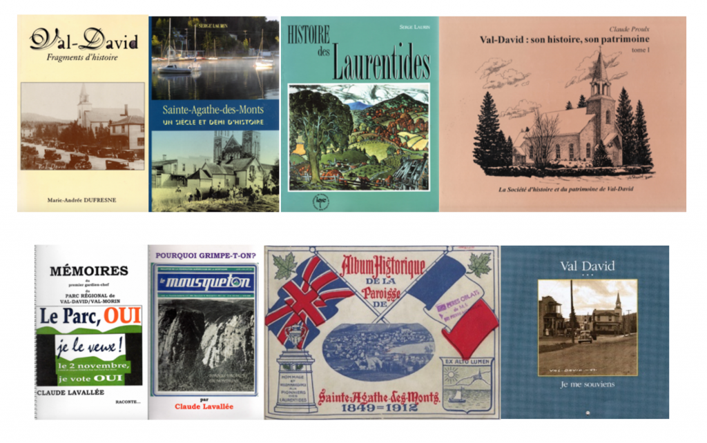 The covers of eight books concerning the history of Val-David and its region.