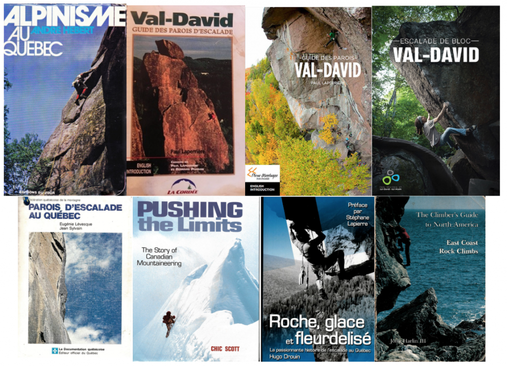 "The covers of eight books consulted for the development of the exhibition: ""Val-David, Birthplace of Rock Climbing in Canada."""