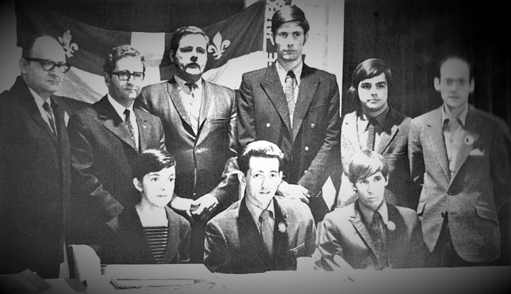 Black and white photo montage of portraits of nine people.