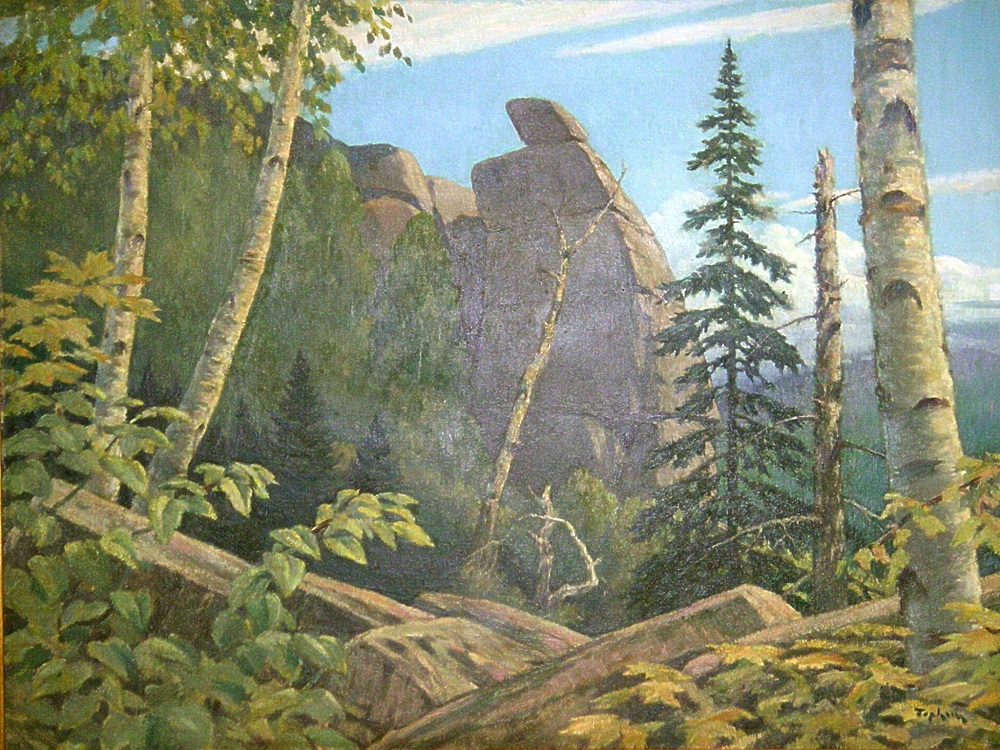 Painting by artist Christo Stefanoff featuring a rock wall surrounded by trees against a background of blue sky.