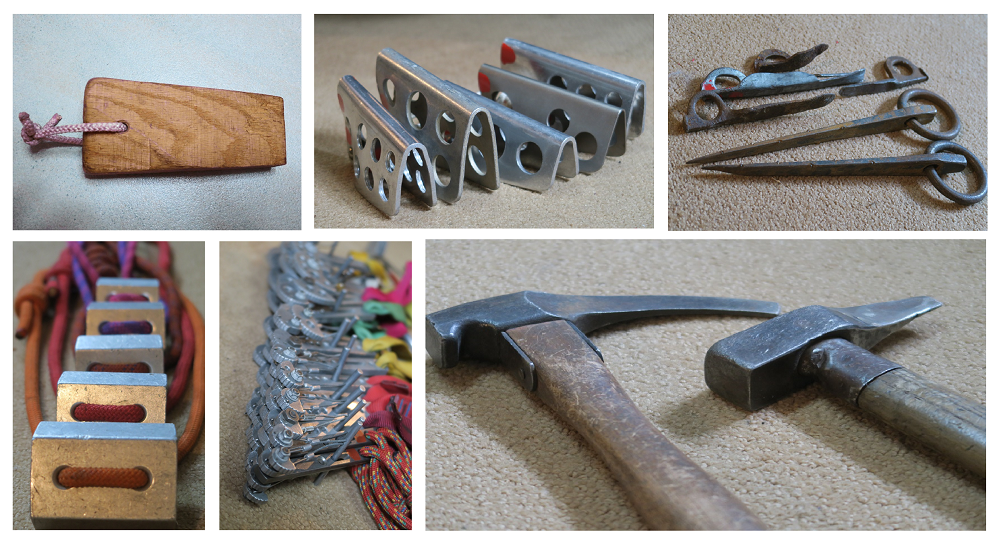 Six images showing various metal items and hammers used to secure climbers.