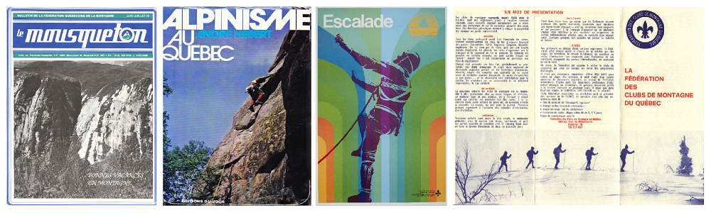 Various covers of posters and books promoting rock climbing in Val-David.