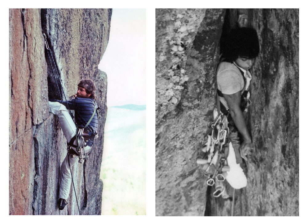 Two images: on the left in colour and on the right in black and white, each showing a climber executing what seems to be a difficult climbing move.