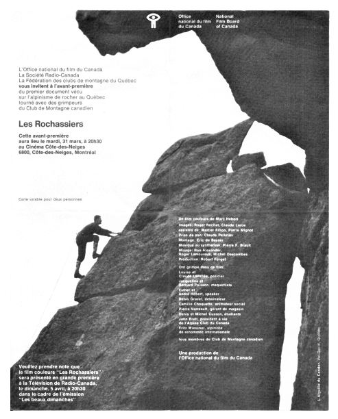 Page of black and white advertising from the Fédération Québécoise de la Montagne, with a man climbing the Mount Condor Needle and an accompanying text.