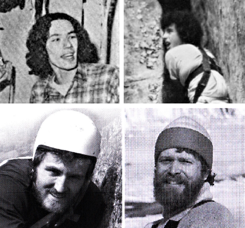 Four black and white portraits of climbers in the 1970s.