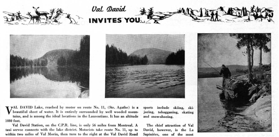 A snippet of a brochure showing images of a lake and some landscape around Val-David.