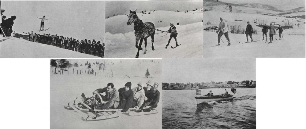 Five pictures, side by side, of sports practiced in Sainte-Agathe around 1912.