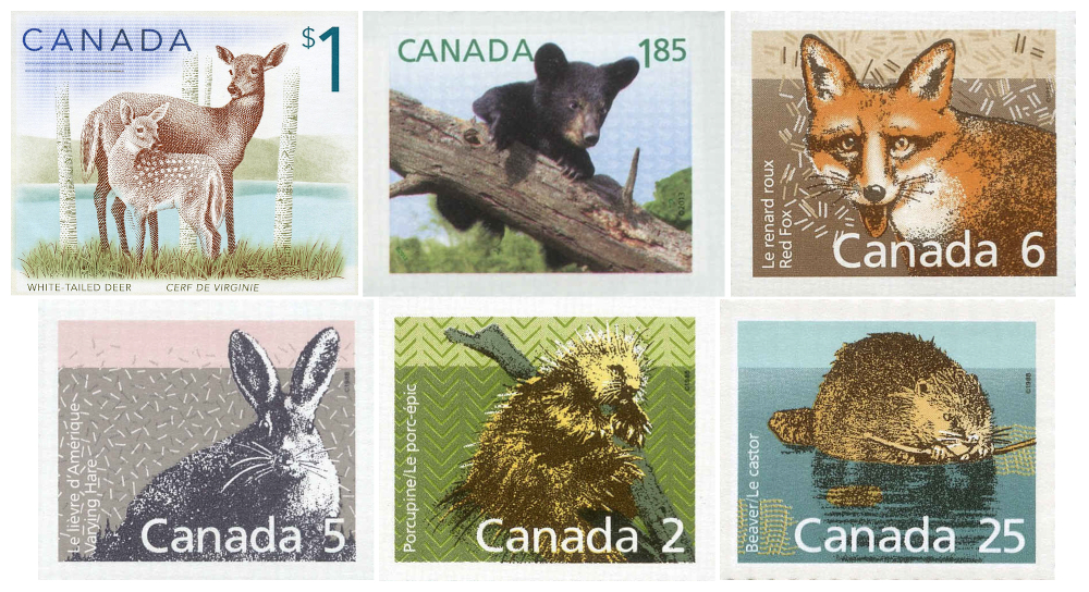 Six Canadian postage stamps illustrating various mammals that may be found in the forests and mountains around Val-David.