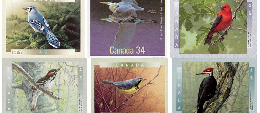 Six Canadian postage stamps illustrating various birds that may be found in the forests and mountains around Val-David.
