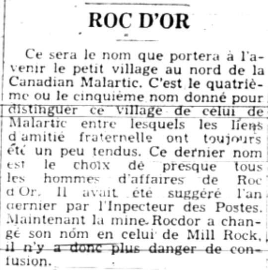 """Newspaper article entitled """"Roc-d'Or"""", some fifteen lines long."""
