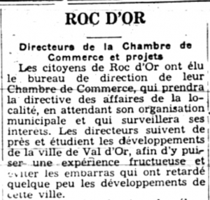 Newspaper article entitled Roc-d'Or, subtitled Directors of the Chamber of Commerce and projects, and made up of a dozen lines.