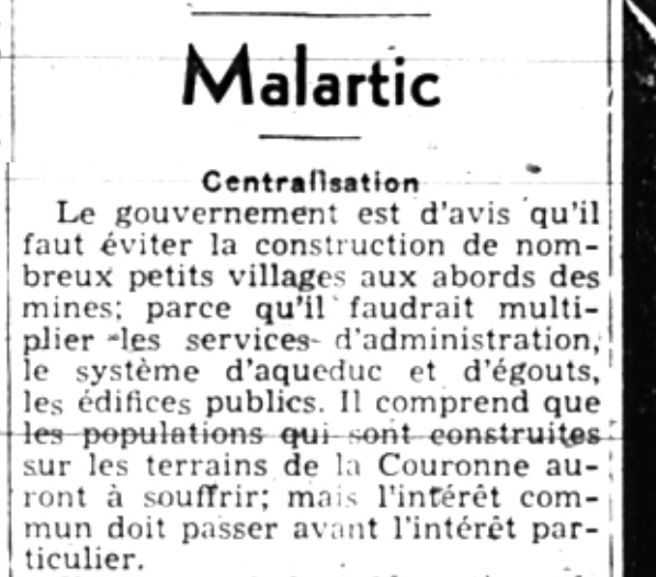 """Newspaper article of a dozen lines entitled """"Malartic"""" and subtitled """"Centralisation""""."""