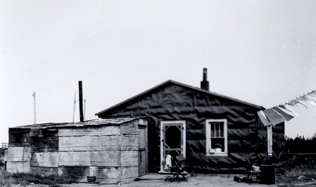 Black and white photograph of a rudimentary house divided into two sections, the first covered with tar paper, the second with metal foil. There is a carriage in front of the house, also a clothesline.