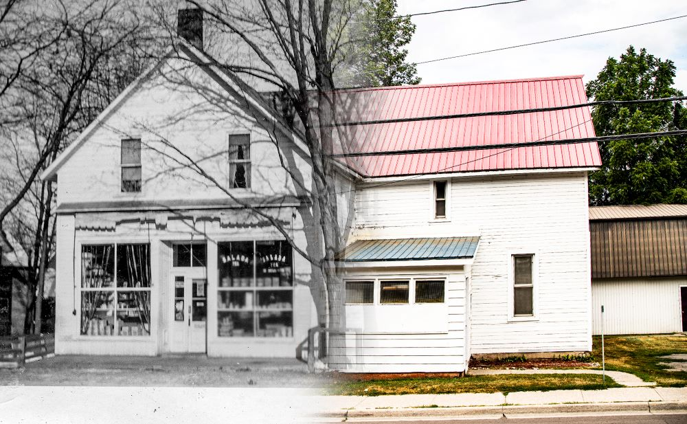 Image shows half of an old store with centre entrance in black and white blended with a contemporary colour image of the other half of same building.