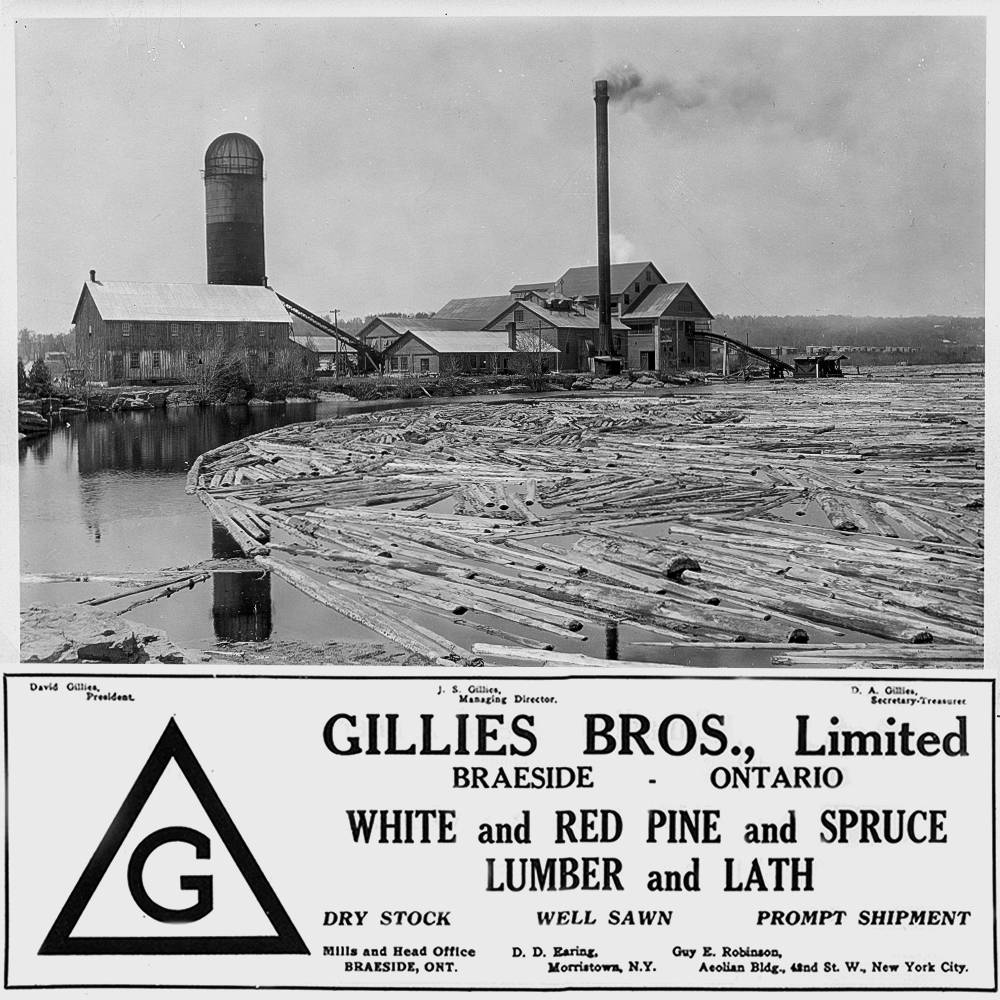 Gillies Bros. lumber mill as seen from the water with an advertisement for the company below.