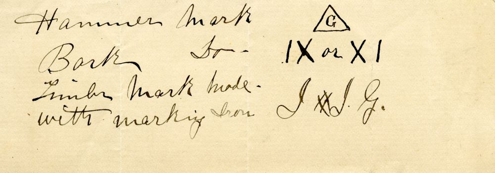 Slip of paper containing handwritten diagrams for Gillies Bros. hammer mark, bark mark and timber marks.