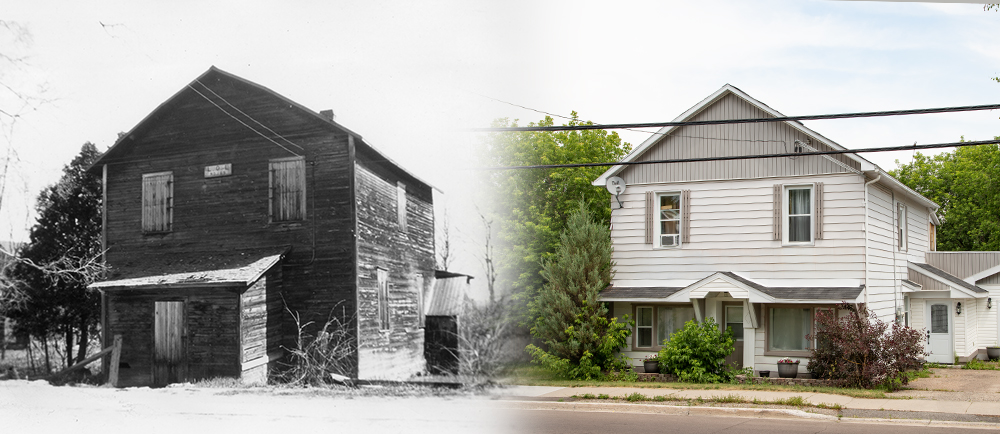 Two images of the same building are seen side by side. On the left the building is an old wooden hall while the one on the right is a home with siding and side entrance.
