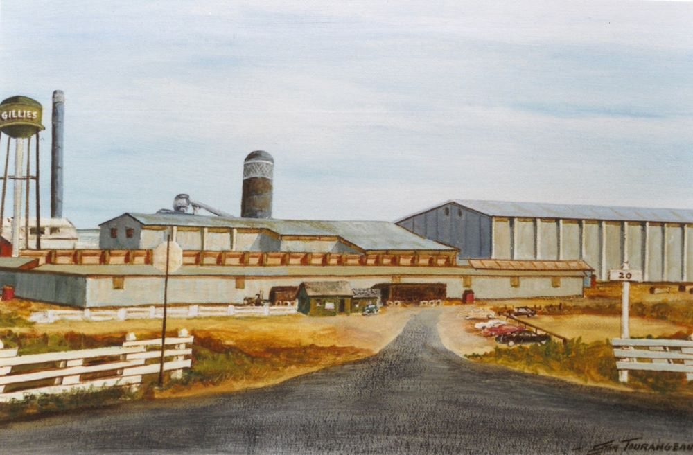 A painting of the Gillies water shows cars parked in front of the mill and the water tower.