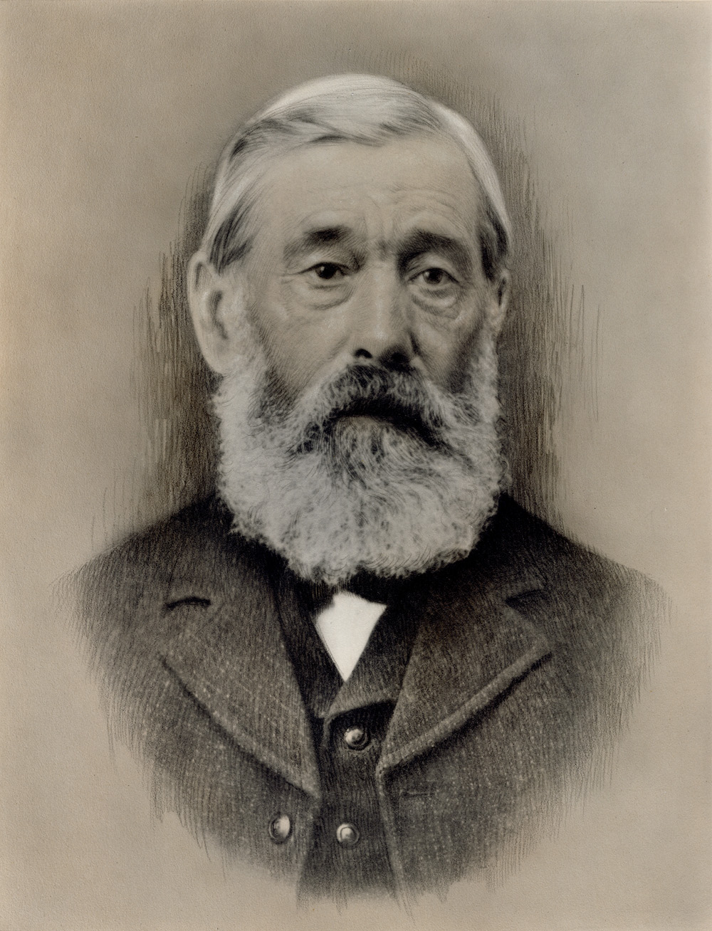A portrait photograph of an older man, detailed with charcoal accents.