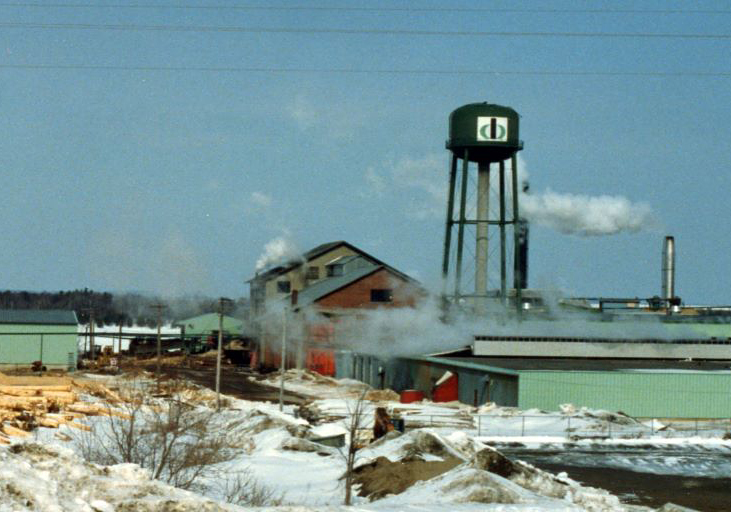 A brick saw mill building is surrounded by heaps of sawdust with a water tower and refuse burner in winter.