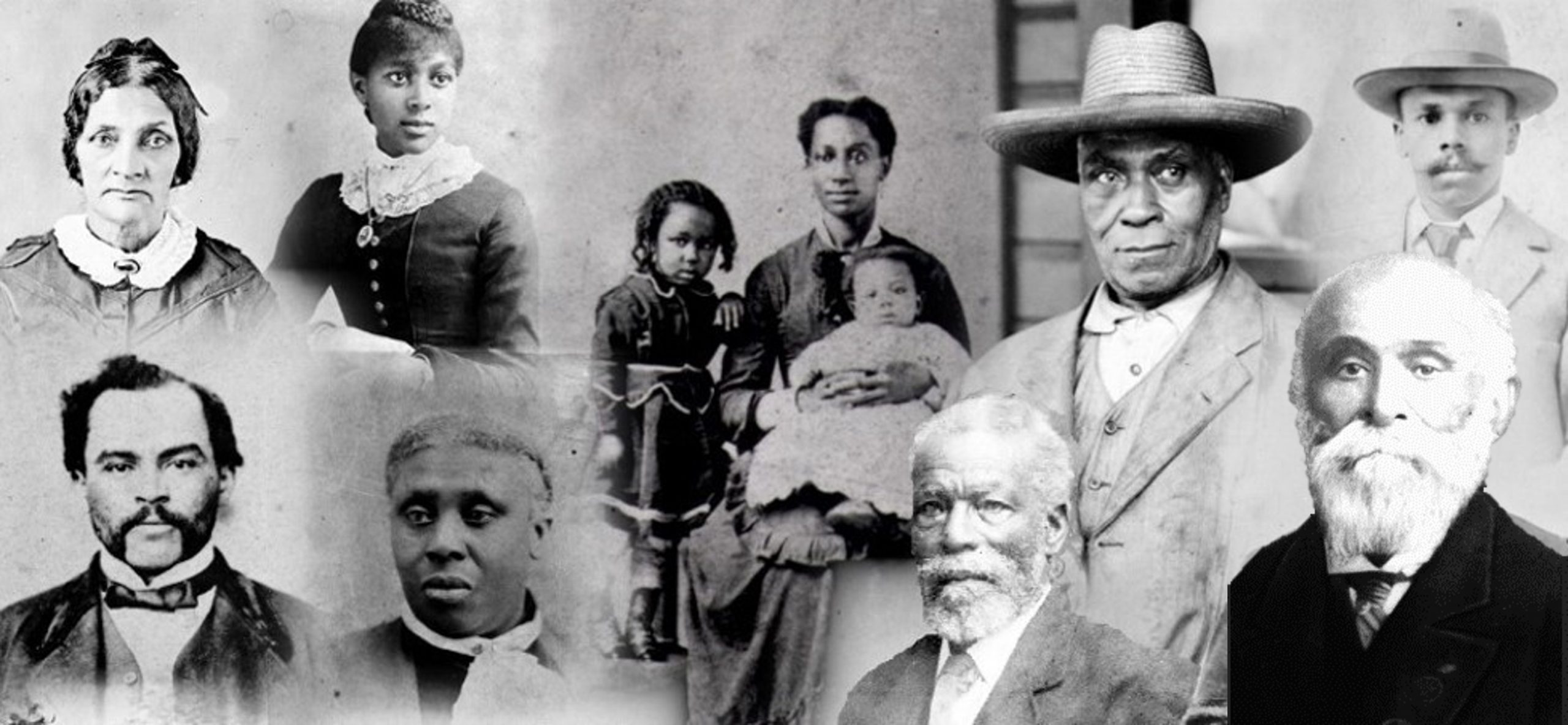 Collage of faces of the Black men, women and children of varying ages who came to BC in 1858