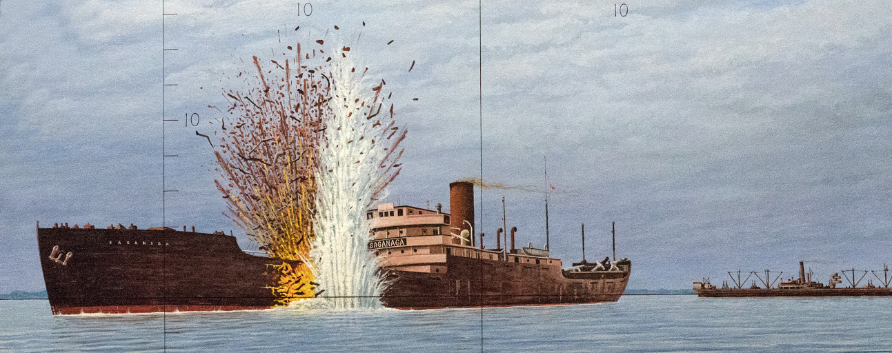 Painting of a cargo ship with a torpedo exploding in its side