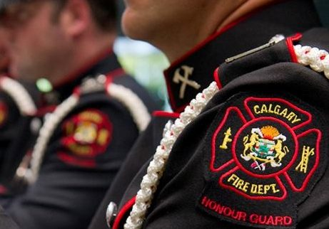 Close up of Calgary Fire Department firefighters