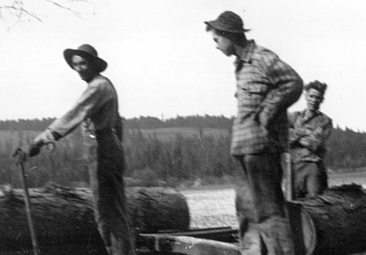 Three men are working beside a primitive sawmill. The saw is cutting a large Larch log and another large log is on the carriage waiting to be cut. The sawmill is in an open field.